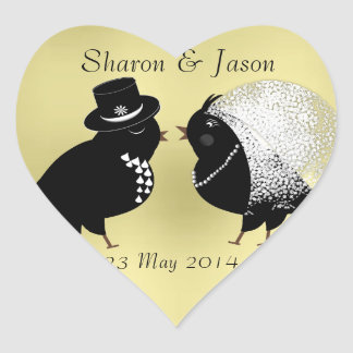 Cute Bride and Groom Whimsical Love Birds Heart Sticker