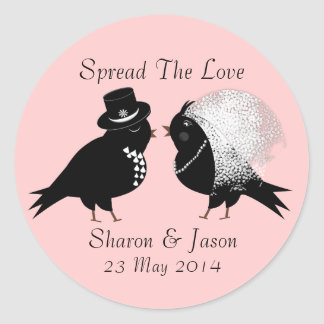 Cute Bride and Groom Whimsical Love Birds Round Sticker