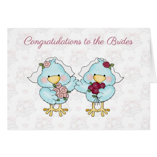 Cute Bride Birds, Lesbian Wedding Congratulations Card