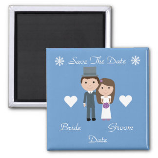 Cute Bride & Groom Blue Winter Save The Date Square Magnet