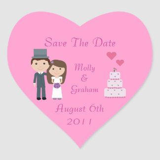 Cute Bride & Groom & Cake Pink Save The Date Heart Sticker
