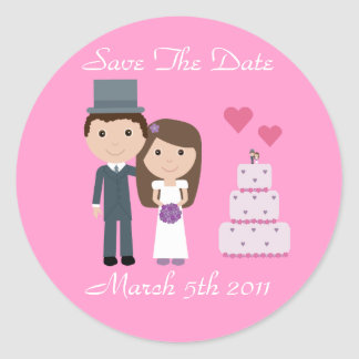 Cute Bride & Groom & Cake Pink Save The Date Round Sticker