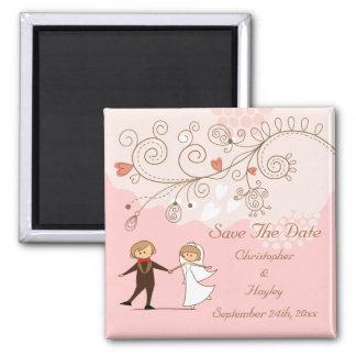 Cute Bride Groom Dancing Save The Date Wedding Magnet