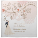 Cute Bride & Groom Flowers & Hearts Wedding