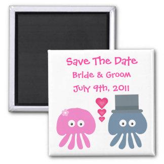 Cute Bride Groom Jellyfish Save The Date Fridge Magnet