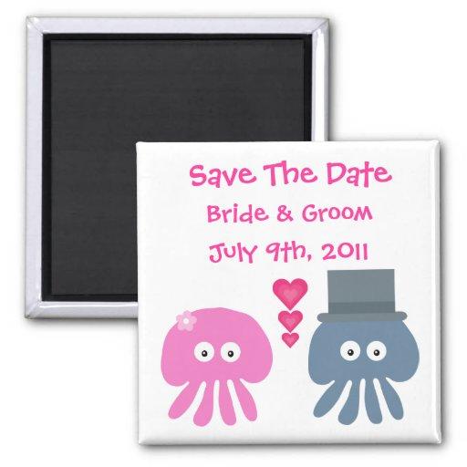 Cute Bride & Groom Jellyfish Save The Date Fridge Magnet