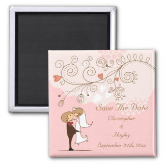 Cute Bride & Groom Kissing Save The Date Wedding Square Magnet