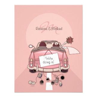 Cute Bride Groom Pink Getaway Car Personalized Invitations