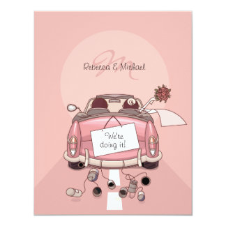 Cute Bride & Groom Pink Getaway Car Personalized Invitations