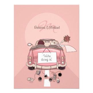 Cute Bride Groom Pink Getaway Car Invitations