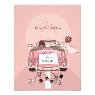 "Cute Bride & Groom Pink Getaway Car Invitations 4.25"" X 5.5"" Invitation Card"