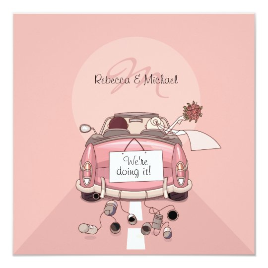 Cute Bride & Groom Pink Getaway Car Invitations