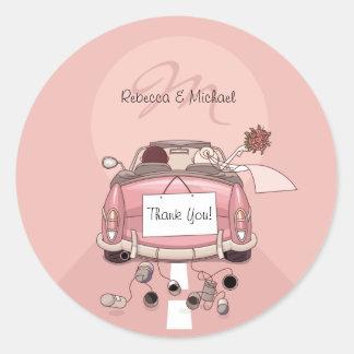 Cute Bride & Groom Pink Getaway Thank You Stickers