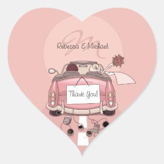 Cute Bride Groom Pink Getaway Thank You Stickers