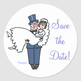 Cute Bride Groom Save The Date Stickers