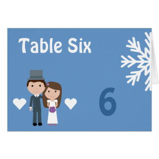 Cute Bride Groom Snowflake Winter Seating Card