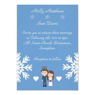 Cute Bride & Groom Snowflakes Blue Winter Wedding Card