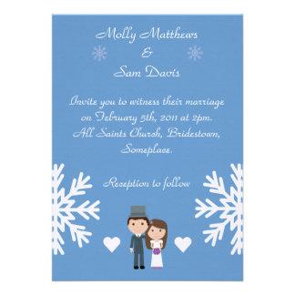 Cute Bride Groom Snowflakes Blue Winter Wedding Custom Invites