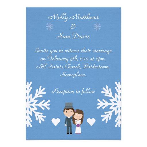 Cute Bride & Groom Snowflakes Blue Winter Wedding Custom Invites