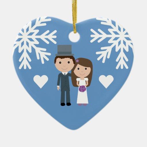 Cute Bride, Groom & Snowflakes Winter Wedding Christmas Tree Ornament