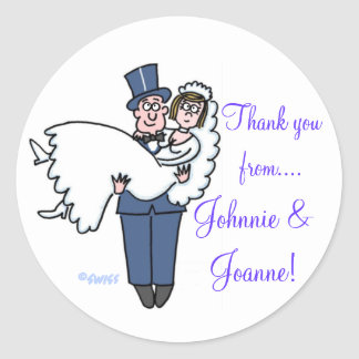 Cute Bride Groom Thank You Stickers