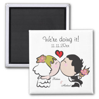 "Cute Bride & Groom ""we're doing it"" Save the Date Fridge Magnets"