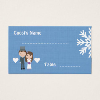 Cute Bride & Groom winter snowflake seating cards