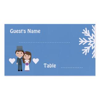 Cute Bride & Groom winter snowflake seating cards Business Card