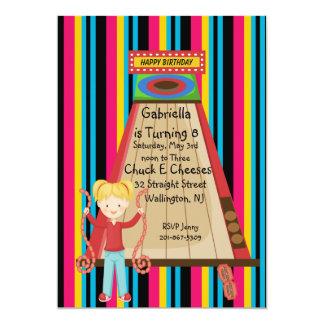 Cute, Bright, and Striped Girls Arcade Invitation