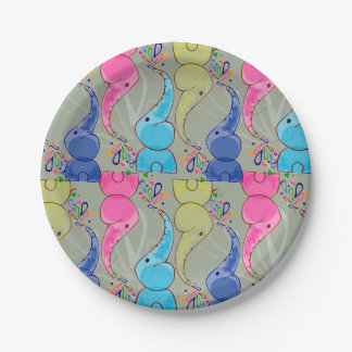 Cute bright baby elephants design on grey 7 inch paper plate