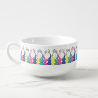 Cute bright baby elephants design soup bowl with handle