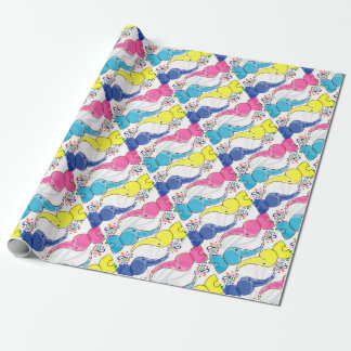 Cute bright baby elephants design wrapping paper