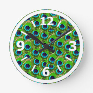 Cute Bright Blue and Green Peacock Print Round Clock