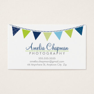 CUTE BRIGHT BUNTING bold party navy blue lime