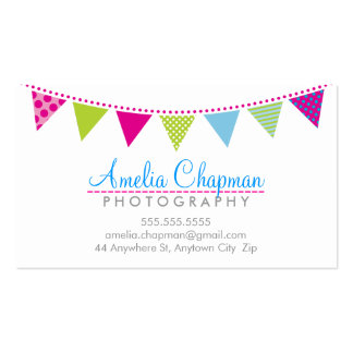 CUTE BRIGHT BUNTING bold party pink lime blue Business Card