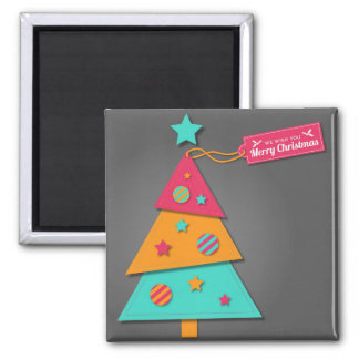 Cute bright Christmas tree modern art craft Magnets