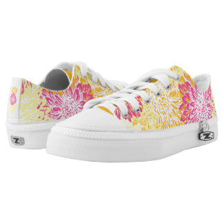 Cute, Bright Colored Flower Print Printed Shoes