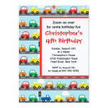 Cute Bright & Colourful Cars Birthday Party Custom Invites