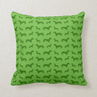 Cute bright green dachshund pattern cushion