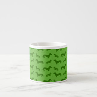 Cute bright green dachshund pattern espresso cup