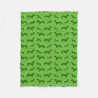 Cute bright green dachshund pattern fleece blanket