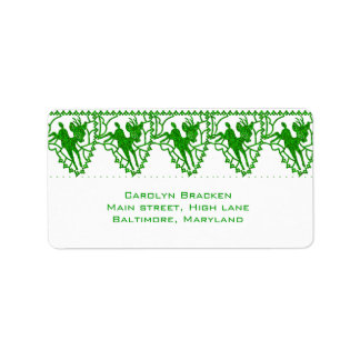 Cute Bright Green Reindeer Christmas Address Label