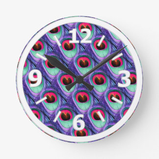 Cute Bright Pink and Purple Peacock feathers Round Clock