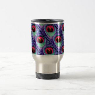 Cute Bright Pink and Purple Peacock feathers Travel Mug