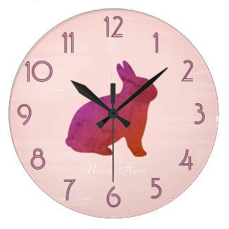 Cute  Bright Pink Bunny Add Name Clock