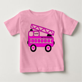 Cute Bright Pink Girls Firetruck Design Baby T-Shirt