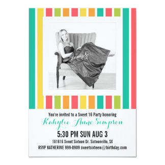 Cute Bright Stripes Photo Sweet 16 Party 4.5x6.25 Paper Invitation Card