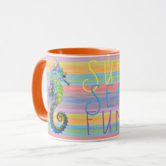 Cute Bright Sunset Colors Artsy Seahorse Mug