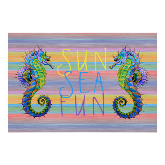 Cute Bright Sunset Colors Artsy Seahorse Poster