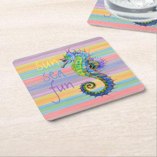 Cute Bright Sunset Colors Artsy Seahorse Square Paper Coaster